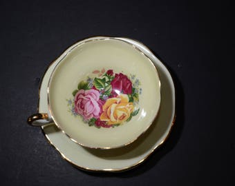 Amazing REGENCY, Teacup and saucer set, Tea Cup, Tea Set, Yellow Cups, Bone China Cups, Pink, Yellow and Red Rose Bouquet, wide mouth