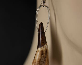 Stained Bison Tooth Earrings