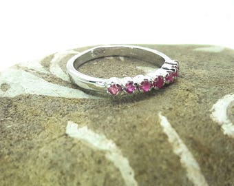Vintage Ruby Sterling Silver Eternity Stacking Ring/Handmade/Free Shipping US/July Birthstone/Christmas/Valentines /Anniversary/Birthday