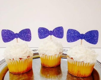 Bow Tie Cupcake Toppers that Sparkle / Baby Reveal / First Birthday Boy