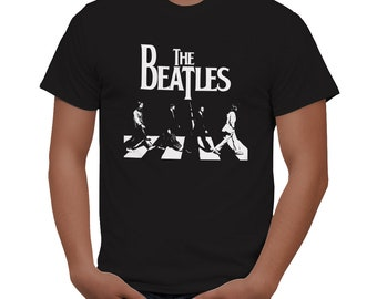 The BEATLES T-shirt ABBEY ROAD tee classic logo t-shirt black new 3
