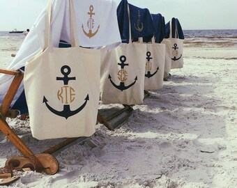 Beach Bachelorette Party Favors Anchor Monogrammed Tote Bag, Bachelorette Cruise Gift Bags, Nautical Bachelorette Party Gift