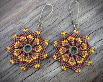 Macrame earrings, Mandala flower earrings, handcrafted, czech glass beads