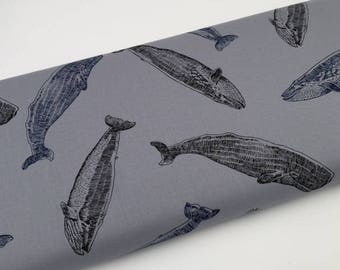 Japanese Sevenberry - gray whales - children fabric by 50cm (110 x)