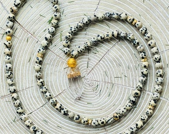 Dalmatian Stone Mala Necklace + Quartz Pendant | Dalmatian Stone, Beaded Necklace, 108 Mala, Mala, Yoga Necklace, Mala Beads, Dalmatian Mala
