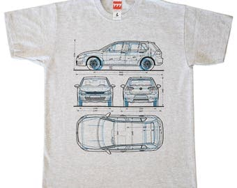 Volkswagen Golf 1 & 7 generation gray tshirt german style motorsport hatchback