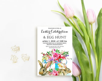 Easter Egg Hunt Printed Invitations Easter Brunch Invitations Template Watercolor Flowers Bunny Rabbit Chick Easter Invitaton Digital Invite