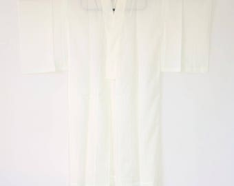 Authentic Japanese Vintage Ro Juban Kimono White  L140