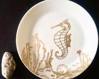 Handmade illustration on tempered glass plate.