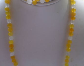 "20"" Yellow and White Jade Beaded Necklace with 3/4 inch hoop Matching Earrings"