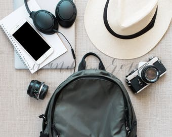 Social Media iPhone Influencer Photo | Backpack Headphones Styled Stock Photo for Instagram Blog | iPhone Mockup Image