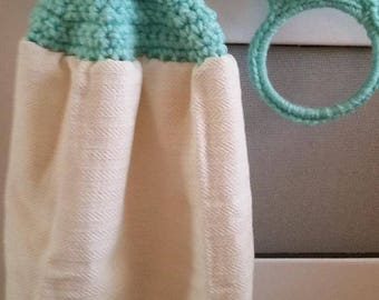 Kitchen Towel with Crochet Towel Topper and Towel Holder Set