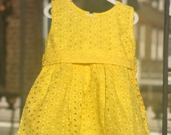 Yellow dress , Pure cotton dress, Girls dress , Size 1-5 years