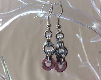 Double Spiral Chain Mail Earrings with Plum Czech Pressed Glass Ring