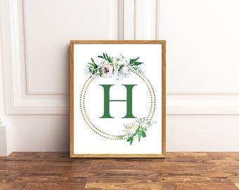 Monogram Printable Art - Letter H - Nursery Decor - Initial Wall Art - Wedding Sign - Floral Wreath - Kids Wall Art - Girl Art