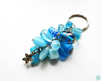 Blue beaded keyring