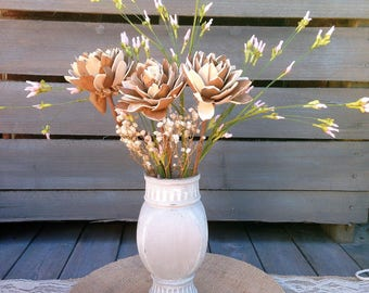 Painted Glass Vase Centerpiece Unique Shape Shabby Chic Style