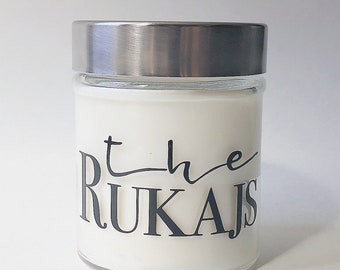 Custom Last Name Candle, Personalized Surname Candle, Housewarming, Bridal Shower Gift, Wedding Gift, Soy Candle Gift