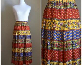 Vintage pleated skirt, 1980's, Floral skirt, Boho, Marisa Christina, Vintage skirt, 1980's, Size medium, Maxi skirt, Vintage floral skirt