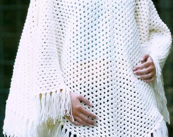 Fringed Aran Poncho, Crochet Pattern, Instant Download.