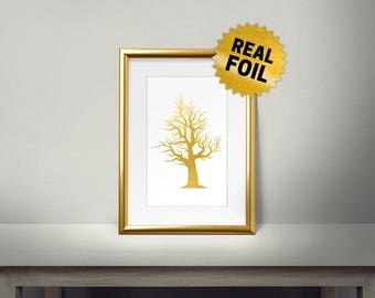 Tree Wall Decor, Real Gold Foil Print, Gold Wall Art, Winter Tree, Golden Tree, Shiny Gold Foil, Tree Wall Print, Gold Tree Branch