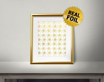Christmas Stars Pattern, Real Gold Foil Print, Merry Christmas And Happy New Year, 2018, Gold Wall Art, Decor, Holiday Decoration,