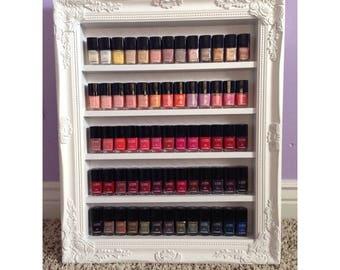 Chanel Nail Polish Rack - Vanity Display - Nail Polish Rack - Beauty Room Decor - Chevron Decor - Wall Display - Beauty Organizer