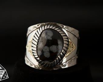 Women's Cuff * Snowflake Obsidian * Cuff * Silver and Gold Bracelet * Unique Bracelet * Bracelet * Large gemstone * Black and silver cuff