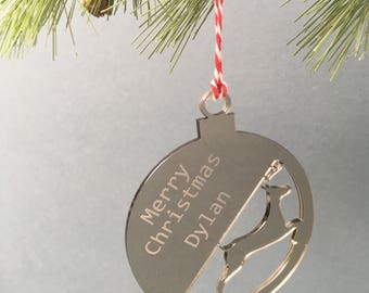Personalised Christmas Tree Decoration/Bauble, Stag