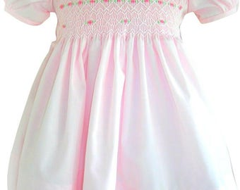 Girls Smocked Dress in Sweet Pink 3 months to 6 years - READY TO SHIP