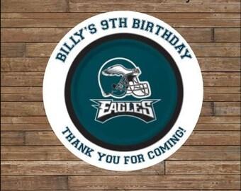 Personalized Football Stickers   Football Team Favor Tags    Football Birthday   Philadelphia Eagles