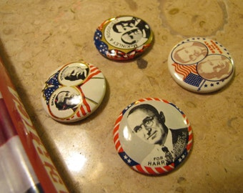 Set 4 Vintage Political Campaign Buttons made by Kleenex Tissues 1968 Harry Truman, Bryan + Stevenson, Dewey + Warren, McKinley + Roosevelt
