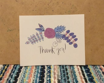 Set of 5, 10 or 20 Cards: Thank You Cards, Thanks Cards, Bridal Shower Cards, Bachelorette Party Cards, Wedding Cards, Greeting Cards
