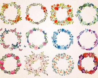12 x Watercolor Floral Wreath Clipart/SVG files,png 300 ppi,jpg/Digital Clipart/Instant Download