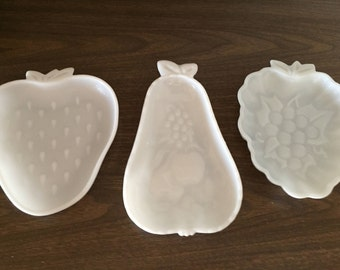 Set of Three Fruit Shaped Milk Glass Dishes