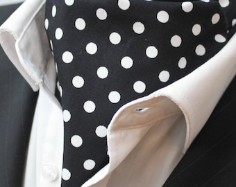 Cravat Ascot UK Made Black & White Polka Dot. Cravat Hanky.Premium Cotton.