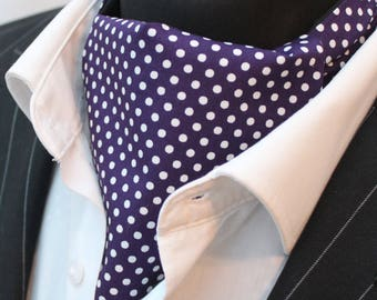 Cravat Ascot. UK Made. Indigo & White Polka Dot. Cravat Hanky.Premium Cotton.