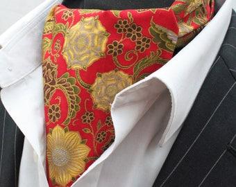 Cravat Ascot. UK Made. Metallic Floral Rose Cravat & Hanky.Premium Cotton.