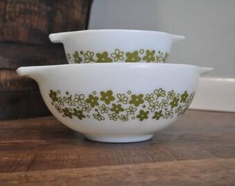 Pyrex Spring Blossom 441 443 Cinderella Bowl Set - Crazy Daisy