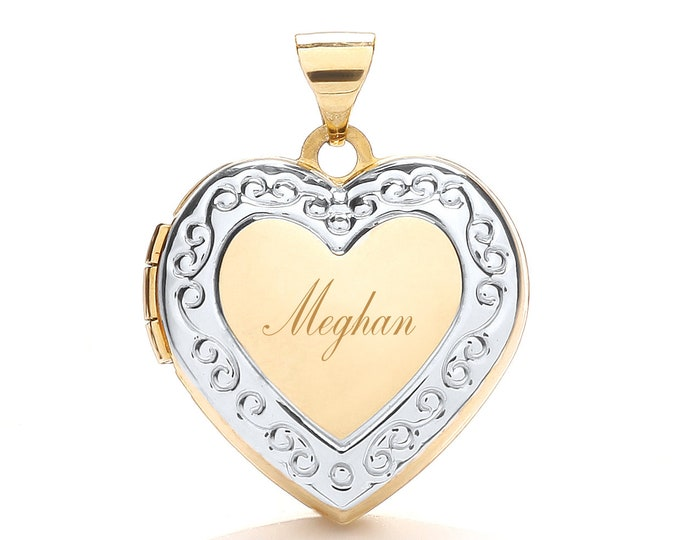 9ct 2 Colour Gold Heart Shaped Locket-Personalised Name/Initials & Message