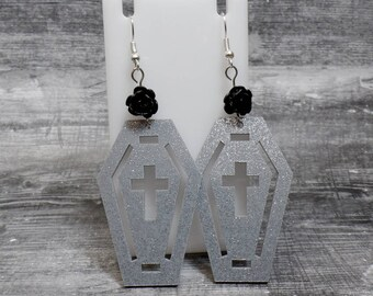 Black Rose Coffin Earrings - Gray Glitter Coffin Cross Earrings - Cross Earrings - Flower Cross Coffin - Free US Shipping