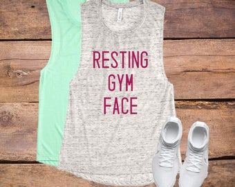 Resting Gym Face Muscle Tank, Workout tee