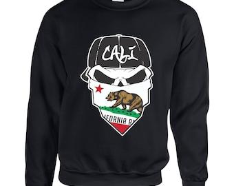 California Republic Cali Bear Skull Face Cali Flag Adult Clothing Unisex Sweatshirt Printed Crew Neck Sweater for Women and Men