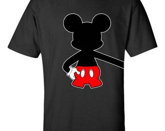Mickey Mouse Hugging Left Side Disney Couple T-Shirts Printed Tops Men Size Unisex Cotton Tee Shirts for Men and Women