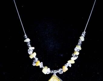 Larkspur flower pendant rock beaded necklace.