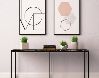 Hexagon Graphic Print Gift For Her Wall Framed Home