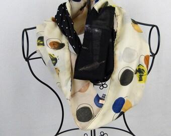Neck, scarf infinite woman snood was scarf woman scarf yellow, black Choker, grey scarf, reversible scarf