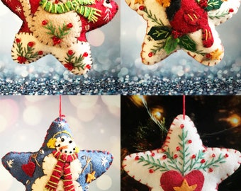 Christmas star Handcrafted felt Christmas tree decoration / felt hanging ornament chic / Christmas tree topper / Christmas ornament / gift