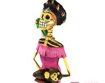 Paper decoration, Frida Kahlo figure, paper sculpture, traditional decor, paper mache figure, Catrina Frida Kahlo