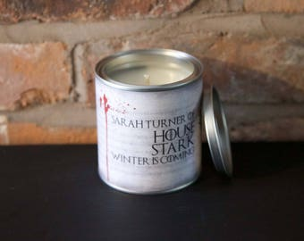Personalised House Stark Game of Throne scented candle